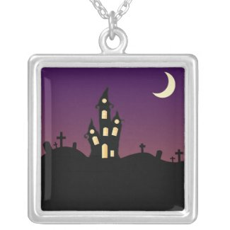 Purple Haunted House Necklace