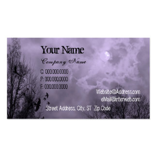 Purple Haunted Sky and Ravens Custom Business Card