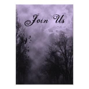 purple haunted sky custom halloween invitations