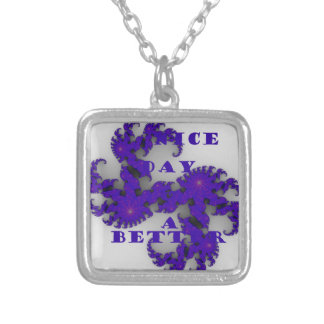 Purple Have a Nice Day and a Better Night. Silver Plated Necklace