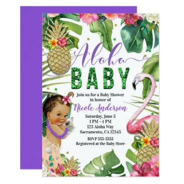 Beach Themed Purple Hawaiian Aloha Tropical Baby Vintage Shower Card