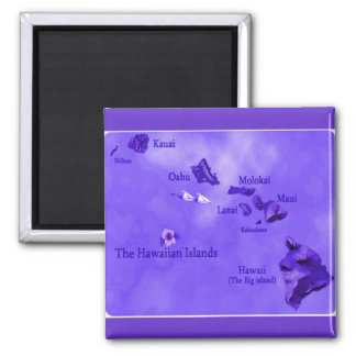 Purple Hawaiian island map Magnet