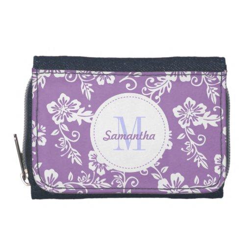 Purple Hawaiian Monogram Personalized Girls Wallet
