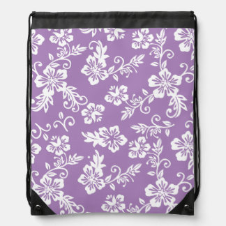 Purple Hawaiian Print Drawstring Backpack