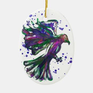 Purple Hawk Paint Splatter Watercolour Bird Design Ceramic Ornament