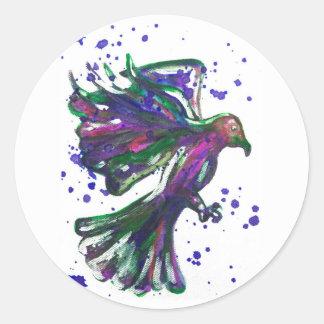 Purple Hawk Paint Splatter Watercolour Bird Design Classic Round Sticker
