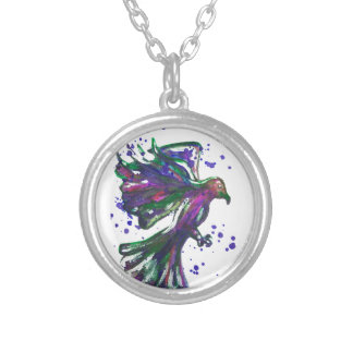 Purple Hawk Paint Splatter Watercolour Bird Design Silver Plated Necklace