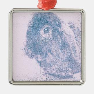 Purple haze rabbit square metal christmas ornament