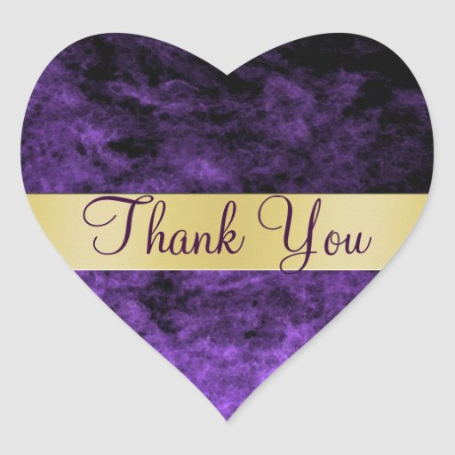 Purple haze thank you heart sticker zazzle