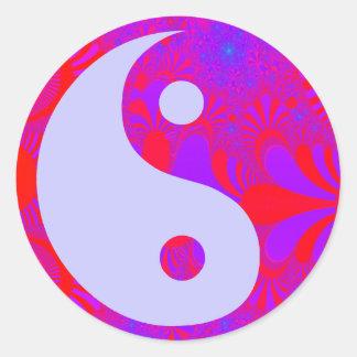 Purple Haze Yin and Yang Classic Round Sticker