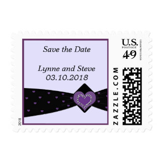 Purple Heart and Black Ribbon Save the Date Postage