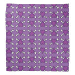 Purple Heart and Crossbones Pattern Bandanna
