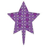 Purple Heart and Crossbones Pattern Star Cake Picks