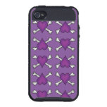 Purple Heart and Crossbones Pattern iPhone 4/4S Case