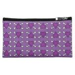 Purple Heart and Crossbones Pattern Cosmetic Bag
