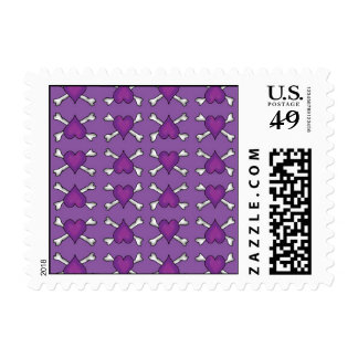 Purple Heart and Crossbones Pattern Postage Stamp