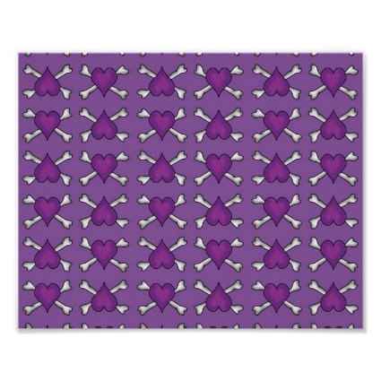 Purple Heart and Crossbones Pattern Posters