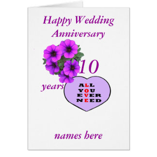 Purple Heart and flowers Anniversary add names, Card