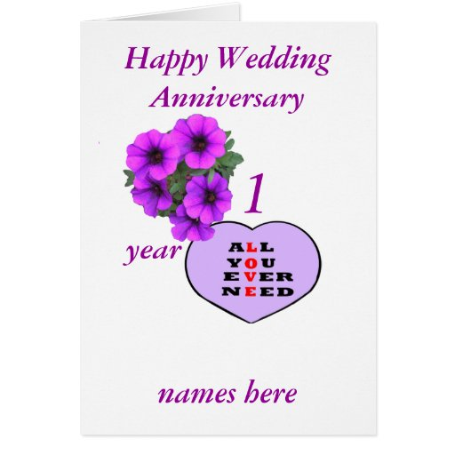 Purple heart and flowers anniversary add names greeting