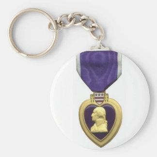 Purple Heart Basic Round Button Keychain