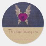 Purple Heart Bookplate Classic Round Sticker