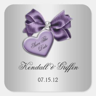 Purple Heart Bow Diamonds Silver Save The Date Square Sticker