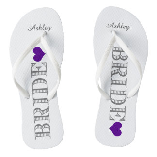 Purple Heart Bride's Flip Flops