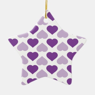 Purple heart ceramic ornament
