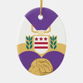 Purple Heart Ceramic Ornament
