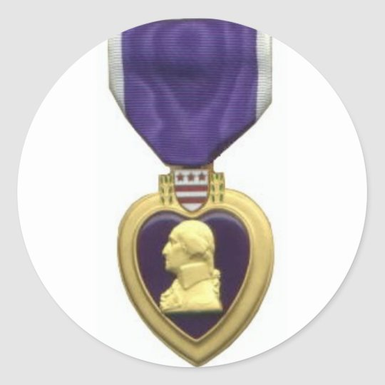 Purple Heart Classic Round Sticker