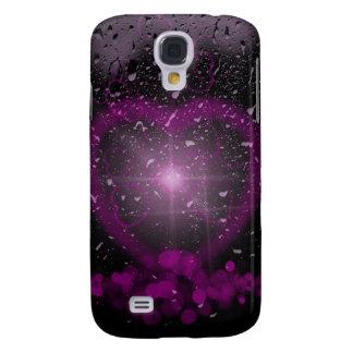Purple Heart con gotas de lluvia Funda Para Galaxy S4