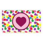 Purple Heart Confetti Color Splashes Polka Dots Business Card Templates