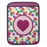 Purple Heart Confetti Color Splashes Polka Dots Sleeves For iPads