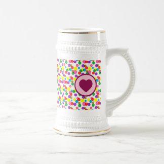Purple Heart Confetti Color Splashes Polka Dots 18 Oz Beer Stein