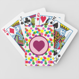 Purple Heart Confetti Color Splashes Polka Dots Bicycle Poker Cards
