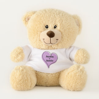 Purple Heart Couple Love Teddy Bear
