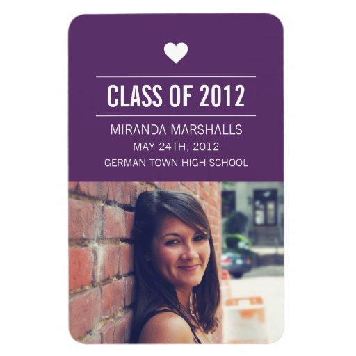 Purple Heart Design Photo Graduation Magnet