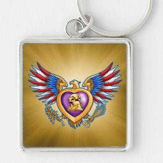 Purple Heart Design Silver-Colored Square Keychain