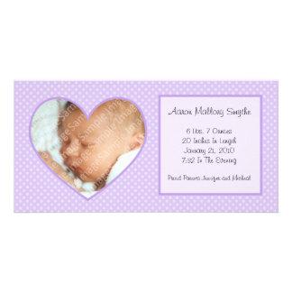 Purple Heart Dots New Baby Photo Card