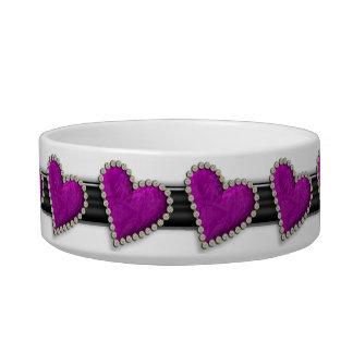 Purple heart elegant designer pet bowl