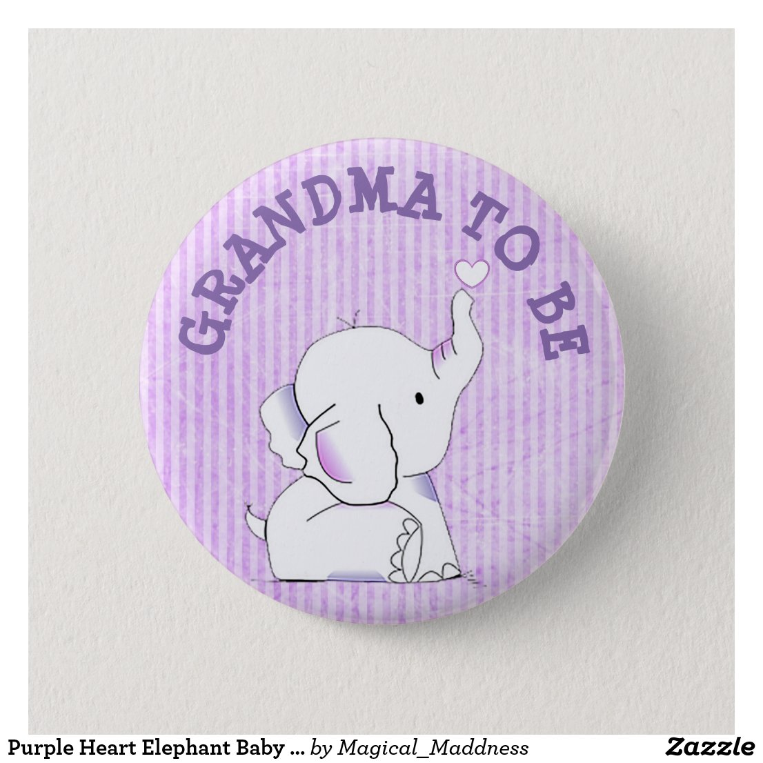 Purple Heart Elephant Baby Shower Pin
