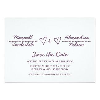 "Purple Heart Equation Save the Date Invite 5"" X 7"" Invitation Card"