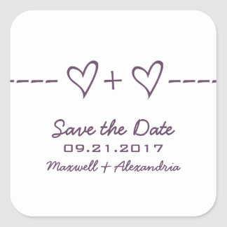 Purple Heart Equation Save the Date Stickers