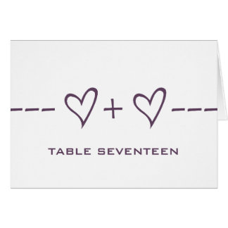 Purple Heart Equation Table Number Card