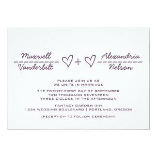 Purple Heart Equation Wedding Invite