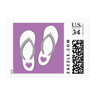 Purple heart flip flops beach wedding stamps