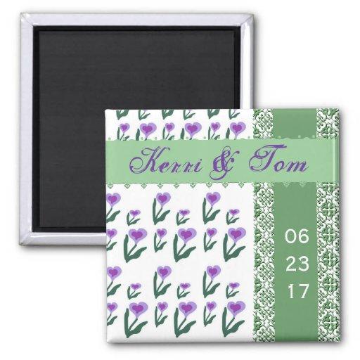 PURPLE Heart Flowers Bride Groom Wedding Magnet