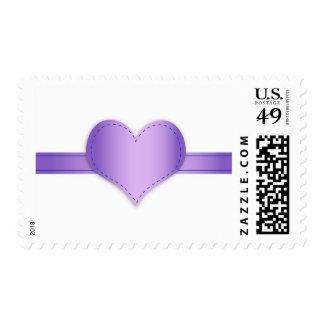 Purple Heart Gift Ribbon Wedding Stamp