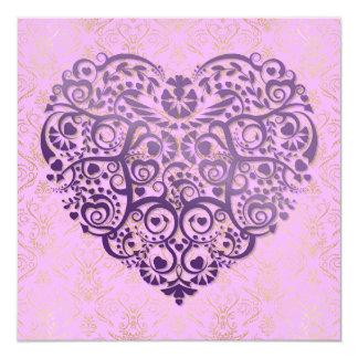 Purple Heart & Gold Damask Valentine Card