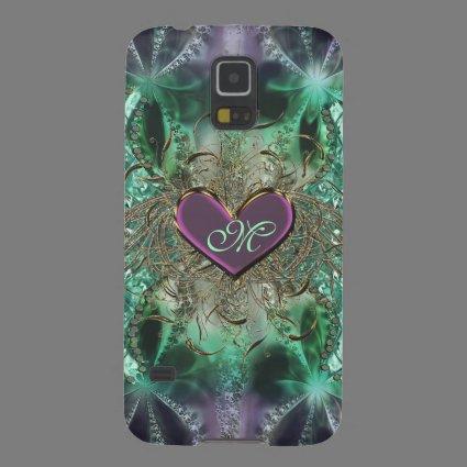 Purple Heart Green Fractal Monogram Galaxy S5 Case